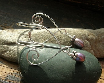 Valentine Sterling Silver Hearts and Freshwater Pearls Steel My Heart earrings