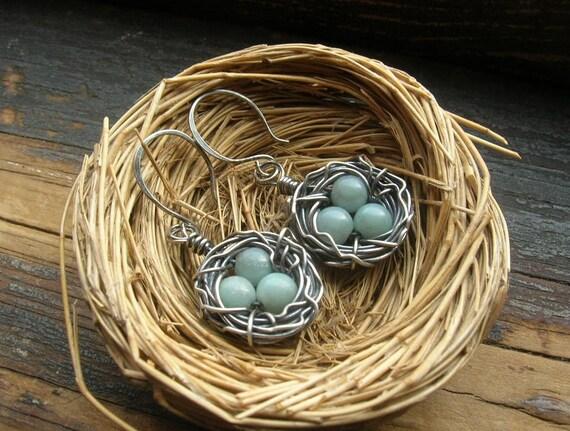 Rustic Bird Nest earrings Robin egg nest earrings bird egg earrings Sterling Silver bird nest earrings Mother Grandmother Mother's Day