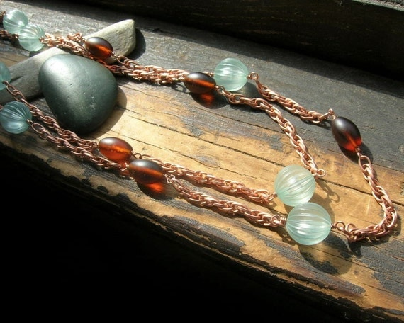 Rustic Seas vintage copper chain double strand necklace