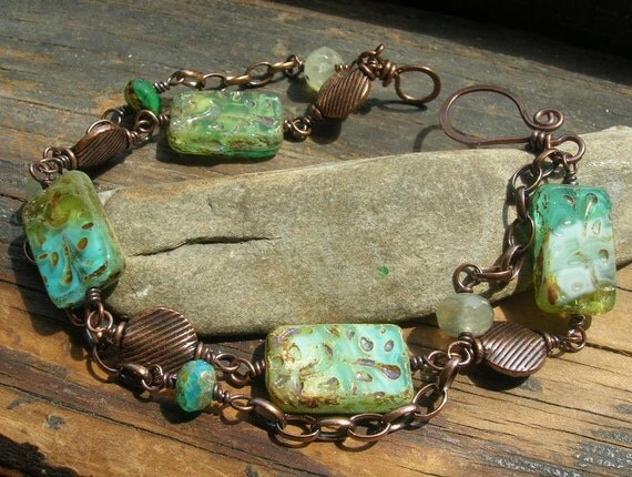 Copper and Sea Blue Green Picasso finish Czech Glass Weathered Sea bracelet Reserved for Kathy Huff