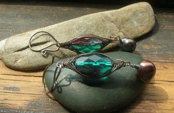 Copper Sterling Silver Herringbone weave Vintage teal glass and freshwater pearl earrings