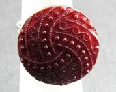 Garnet Red Textured Button Ring Wire Wrapped