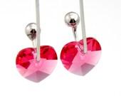 Bridal Party Earrings Crystal Heart Drop Earrings Indian Pink
