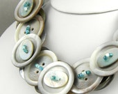 Layered Mother of Pearl Button Necklace Neutral Necklace Button Jewelry Fashion Necklace