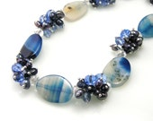 Chunky Gemstone Pearl Cluster Necklace