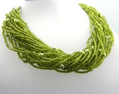 Cyber Monday Black Friday Multi strand Seed Bead and Pearl Necklace Apple Green