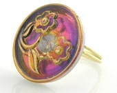 Czech Glass Button Ring on Etsy Purple and Gold Flower