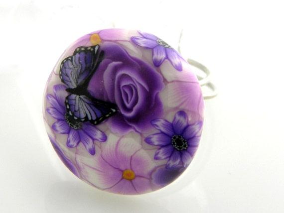 Button Ring Purple Flower Jewelry
