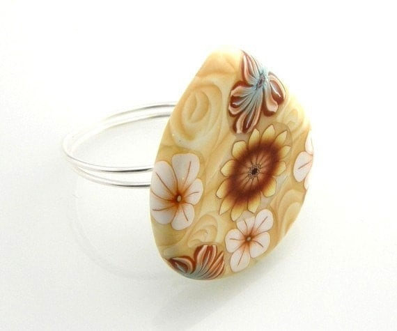 RESERVED  Button Ring Butter Yellow Flower Clay Teardrop