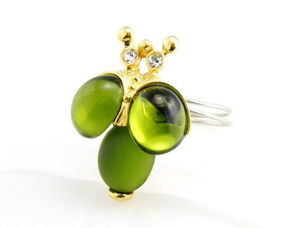 RESERVED   LIMITED EDITION Green Bumble Bee Ring