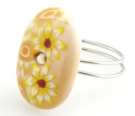 RESERVED  Wire Wrap Button Ring Tan Oval Crystal Clay Flower