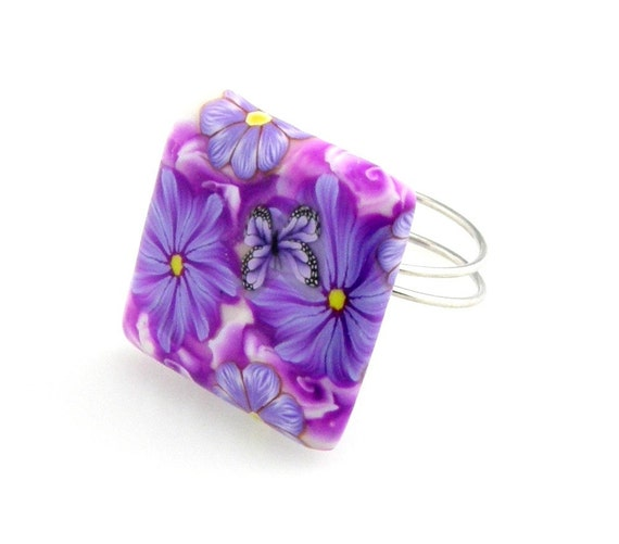 RESERVED  Purple Flower Square Clay Ring