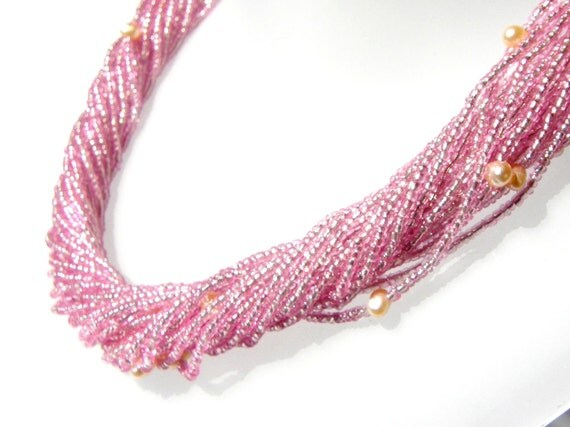 Multi strand Seed Bead and Pearl Necklace Pink Rose
