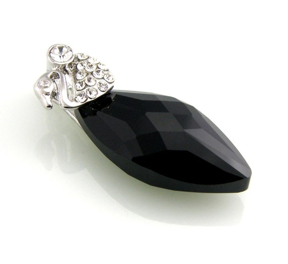 Black Swarovski Crystal Necklace Pendant Sterling Silver Navette