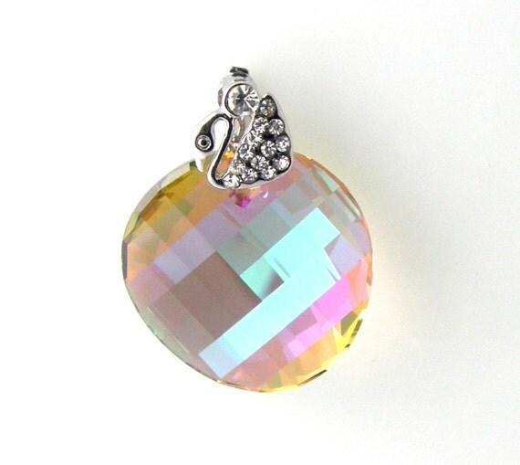 RESERVED  Swarovski Sterling Silver Necklace Purple Haze Crystal Twist Pendant