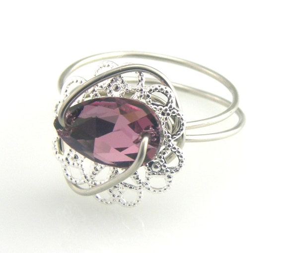 Victorian Ring Swarovski Button Amethyst Pear