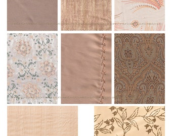 INSTANT DOWNLOAD Digital Collage Sheet - Vintage Fabrics in Peach and Tan - 2.5 x 3.5 in Rectangles