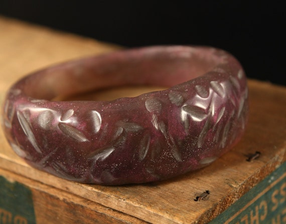 Dusty Lilac hand cast resin bangle bracelet SALE