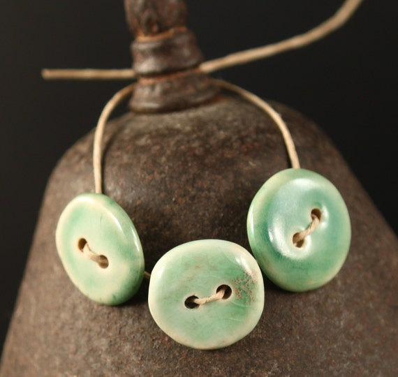 Sea Foam handmade ceramic buttons (3)