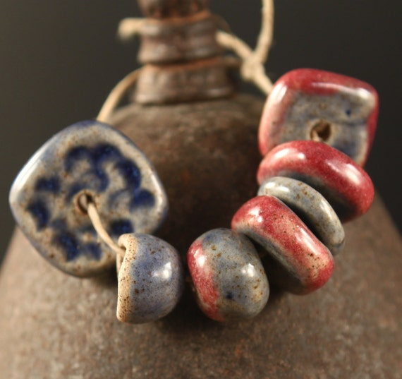 Berry Stained stoneware beads and bead cap (7)