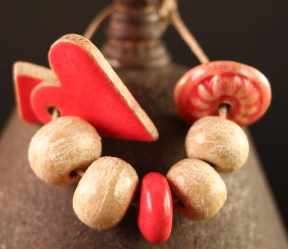 Valentine Hearts stoneware ceramic beads & charms (8) Red and Cream