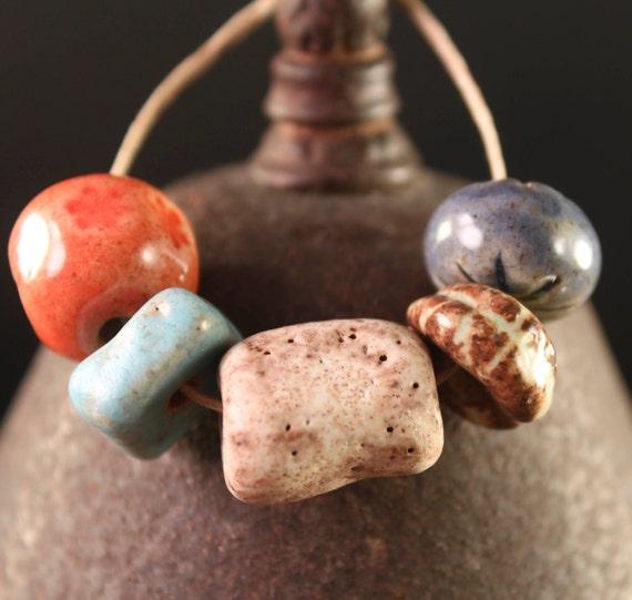 Sampler Set III handmade stoneware beads (5)