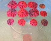 Handmade Fabric Yo-Yos - Orange Coordinates - Set of 12 in a variety of sizes