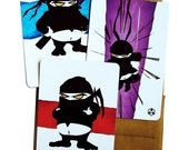FAT NINJA Variety - Postcard Pack - 12 Cards with 12 Recycled Brown Envelopes - So cute. So deadly.