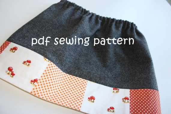 Toddler patch skirt - PDF sewing pattern