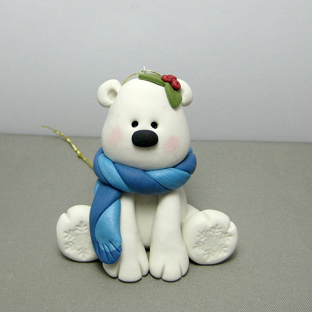 Polymer Clay Christmas Ornament: Winter Polar Bear Polymer Clay Ornament