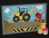 Kiddie Mats - Glittery Personalized Placemats for Kids - Construction - Made just for you with ANY NAME