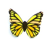 24 Yellow Zebra Butterflies Paper Embellishments for scrapbooking, DIY weddings, photo prop, butterfly baby shower, cupcake topper, diy ACEO