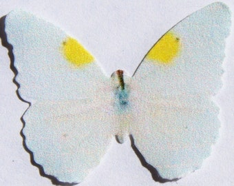 24 White-Yellow Butterfly Paper Embellishment For Scrapbooking, Favors, Cake Toppers, Butterfly Hair Accessories, DIY Weddings, Baby Showers