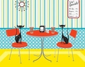 Kitschy Cats - Retro Diner Cat Print by Kerry Beary