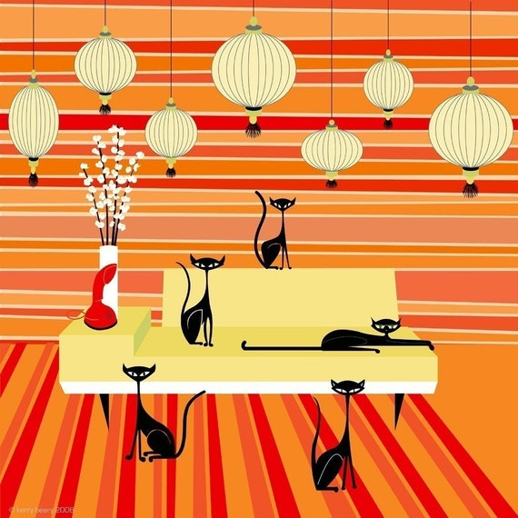 Quint Cats Limited Edition Print - 5 cats in a modern room by Kerry Beary