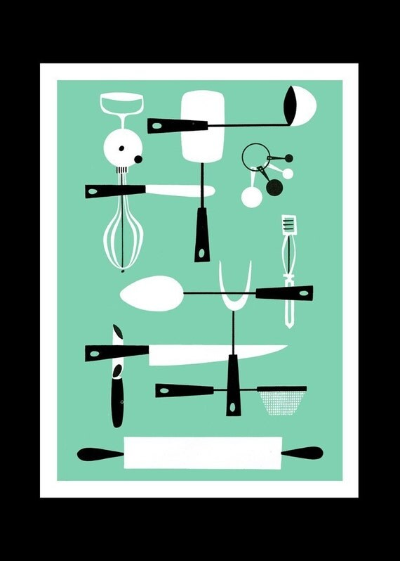 Cool Kitchen Utensils - 5x7 Watercolor paper print - 4 colors available -------------