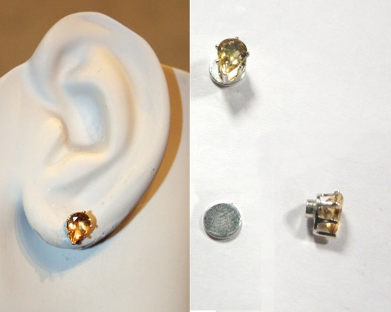 Pear-Shaped Sterling\/Citrine magnetic clip-on earrings