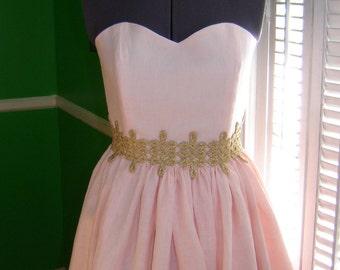 Pink Linen Evening Dress/ custom made