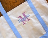 Personalized Canvas Tote Bag- Several trim colors to choose from