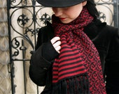 Save 50%- Swirled and Striped Winter Scarf Deep Red / Black