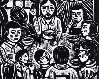 Jesus eats with friends