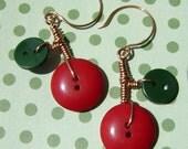 Cherry Hot Tomato - Dangle Button Earrings