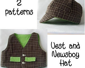 Pattern Bundle: Vest and Newsboy Hat. 2 Patterns.