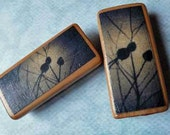 Branch Silhouettes - Set of 2 Bamboo Tile Magnets featuring Polaroid transfer images