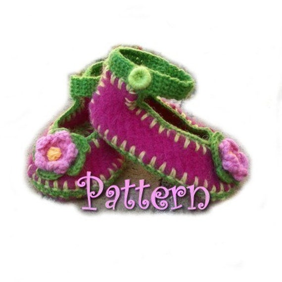 PATTERN - Baby Mary Jane Felted Sweater shoes w\/crochet trim, sz 0-12M