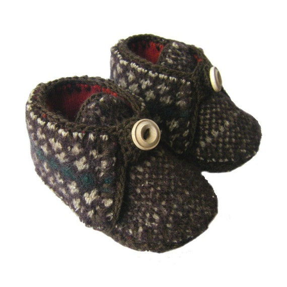 9-12M Soft wool baby slippers\/shoes, sz 4