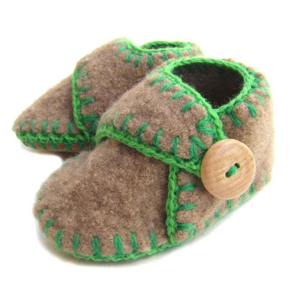 Soft Felted Wool Knit Baby Slippers Shoes Boy S Size By