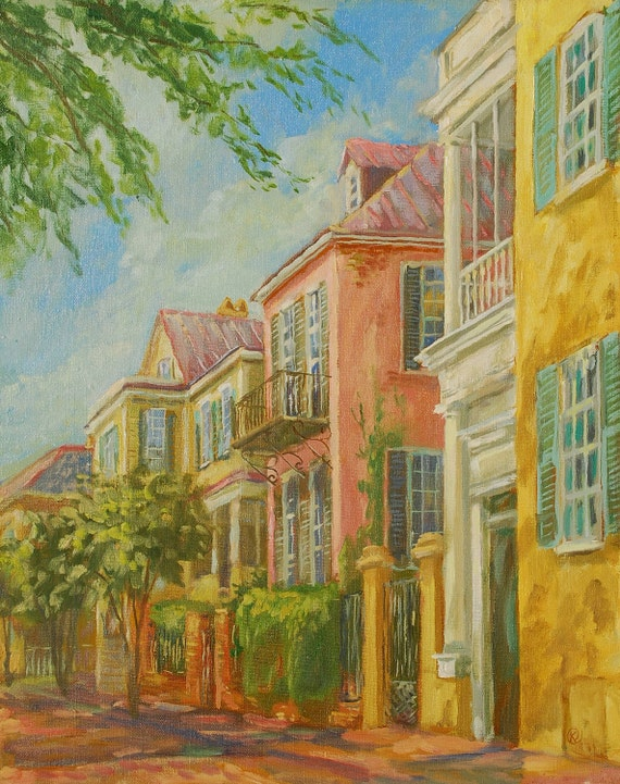 oil painting atlantic street in charleston sc