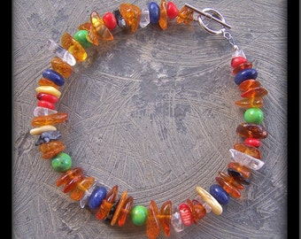 Amber and Multi-Stone 7.5 inch Bracelet