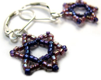 RACHMANUT hebrew star of david earrings, beadwoven purple and pink beads, sterling silver earwires